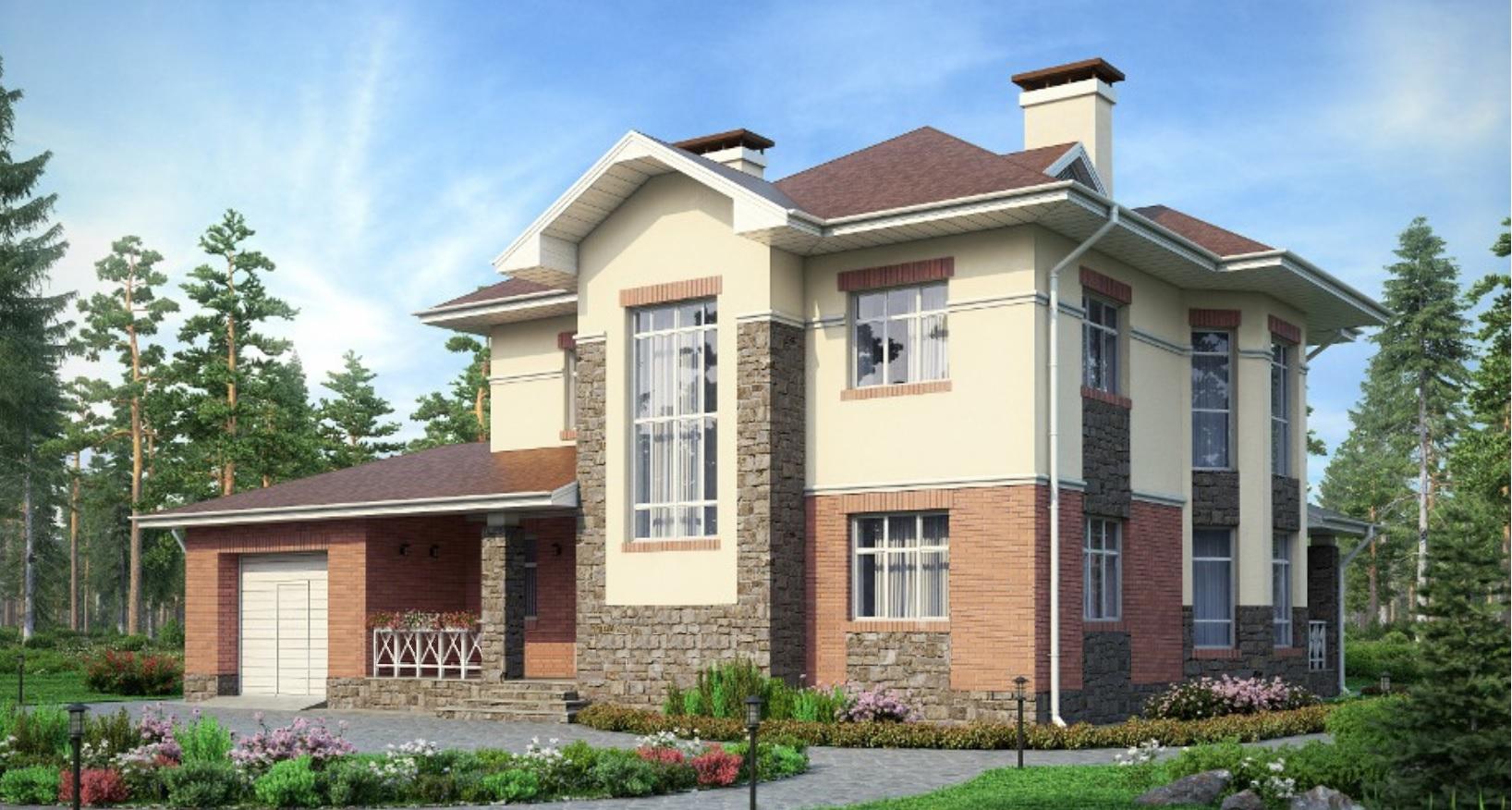 Проект двухэтажного кирпичного дома 37-36 в американском сти.